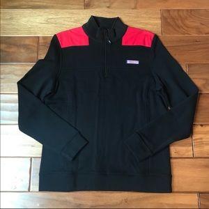 Vineyard Vines Black & Red Half Zip Jacket